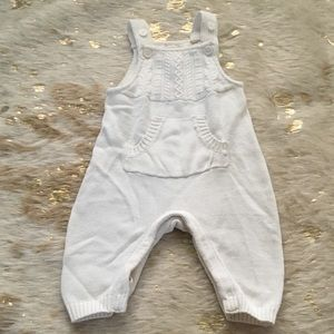 Baby Gap Overalls Knit White Front Pockets Girl
